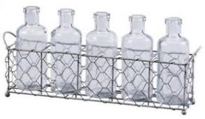 Decorative Wire Tray Silver Clear Glass Bottles 1007100in Wire Tray Set 100Piece Decorative 59