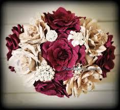 Paper Flower Bouquet Etsy Burgundy Paper Flower Bouquet