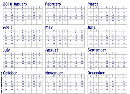 free yearly printable calendar 2018 download editable templates