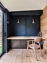 indigo home office. Minimalist Home Office With Indigo Painted Wall