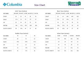60 Scientific Columbia Youth Jacket Size Chart