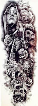 Dočasné Tetování Na Celou Ruku Motorka Lebky Růže