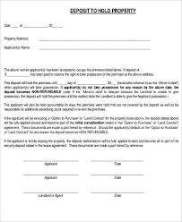 Holding Deposit Agreement Form Unique Rental Deposit Form Printable ...