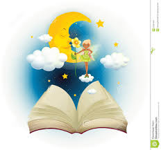an open book with an image of a fairy and a sleeping moon royalty free stock photo
