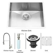 stainless steel undermount kitchen sink faucet grid strainer and dispenser vg15075 in canada