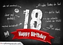 Komplimente Geburtstagskarte Zum 18 Geburtstag Happy Birthday