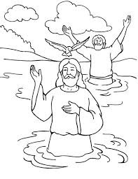 Small Picture Jesus Baptism with Holy Spirit in John the Baptist Coloring Page