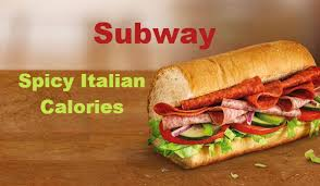 Subway Menu Calories Chart Subway 6 Inch Spicy Italian Calories Nutrition Facts With