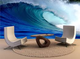 blue surfing wave wall mural wall decal