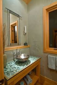 Bathroom Vanities Cincinnati Extraordinary Cool Mirror Zen Look Bathroom Vanity With River Rocks Under