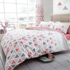 geo triangle king size duvet cover set geometric bedding pink 2 in king size duvet cover