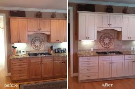 painting wood cabinets whiteAlder Wood Chestnut Prestige Door Painted Kitchen Cabinets Before
