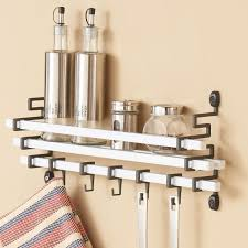Kitchen Wall Hanging Metal Wall Mount Spice Rack With Kitchen Utensil Hanging Hook