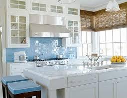 Sky Blue Glass Subway Tile Kitchen Backsplash