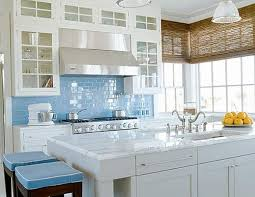sky blue glass subway tile kitchen backsplash