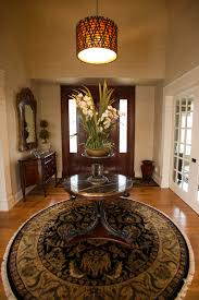 round foyer table dining room transitional with blue gray