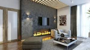 For Living Rooms With Fireplaces Long Fireplace Plus Tv On The Gray Marble Wall Combined With Cream