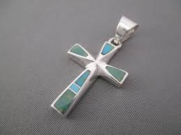 turquoise cross two tone turquoise inlay cross pendant by native american jeweler tim