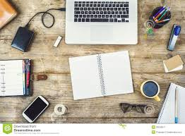 Desktop Mix On A Wooden Office Table Stock Image Image of phone