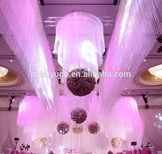 100 polyester white string curtain fringe curtain panel for weddings and events decoration
