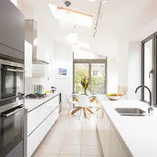 Small Long Kitchen Modern White Small Kitchen With Victorian Terrace Home Ideas
