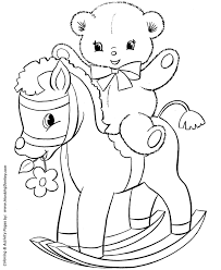 Small Picture Teddy Bear Coloring Pages Teddy Bear on a rocking horse Coloring