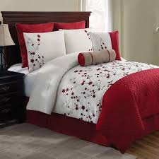awesome new bed bag queen king 5 pc red white fl comforter pillows set all white bed in a bag set ideas