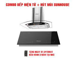 Combo Bếp từ đôi Sunhouse mama MMB-88HL + Máy hút mùi kính cong Sunhouse  Apex APB6601