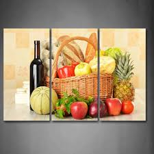 3 piece wall art painting still life various fruit vegetables wine basket picture print on canvas food 4 the picture in painting calligraphy from home