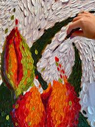 adding thick juicy daubs of white oil paint on the large tulip triptych