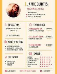 résumé templates   canvaminimal multimedia artist resume