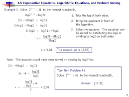3 5 exponential equations logarithmic equations and problem solving 5 1 take the log