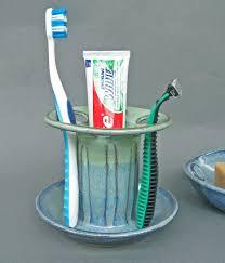 slot toothbrush holder cobalt blue green wheel turned pottery