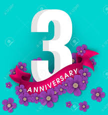 Anniversary Template 3rd Anniversary Template Design Anniversary Emblems With Flowers