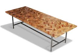 idyllic square chevron pattern reclaimed wood coffee table top added steel base legs for classic interior living areas furnishings designs