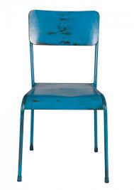 Stühle Set 2 Stuhl Metall Metallstuhl Vintage Design Blau