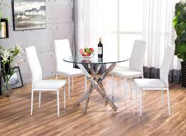 counter height glass dining table furniture white round set chrome small top kitchen space