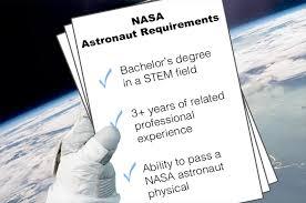 NASA's requirements to be selected as an astronaut. (NASA)