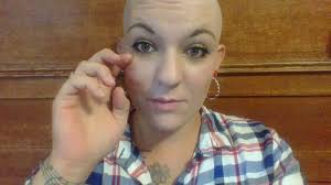 Woman with shaved bald heads