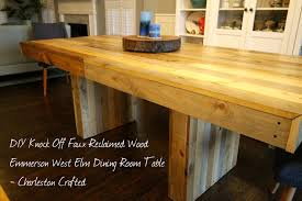DIY Knock Off Faux Reclaimed Wood Emmerson West Elm Dining Room - Dining room tables reclaimed wood