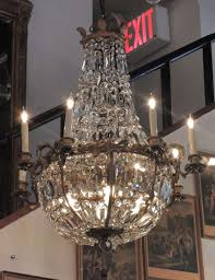 american bronze and crystal basket chandelier with art nouveau detail for