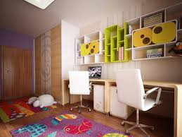 ... Kids Room : Corner L Shape Red White Wall Mounted Modern Kids Bedroom  Computer Pertaining To ...