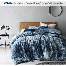 acid wash denim linen cotton quilt cover set white double queen king super king