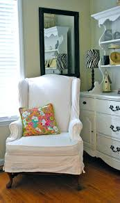 white wingback chair cover off white wing chair slipcover