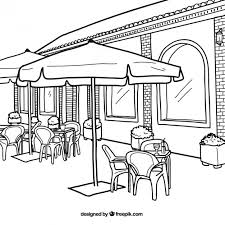 restaurant exterior drawing. Contemporary Drawing Restaurant Exterior Illustration Premium Vector In Drawing C