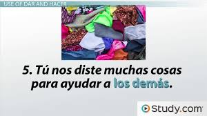 Irregular Verbs Dar Hacer Preterite Tense Conjugation In Spanish