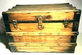 large storage chest trunk antique vintage steamer metal wooden treasure oak small decorative extra ma