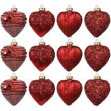 Set Weihnachtskugeln In Herzform 12 Stück 8cm 4 Sorten Mit
