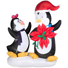 animated christmas penguins. Perfect Penguins H Animated Inflatable Penguin Couple With Poinsettia Flower Throughout Christmas Penguins T