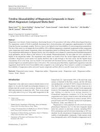 Pdf Timeline Bioavailability Of Magnesium Compounds In